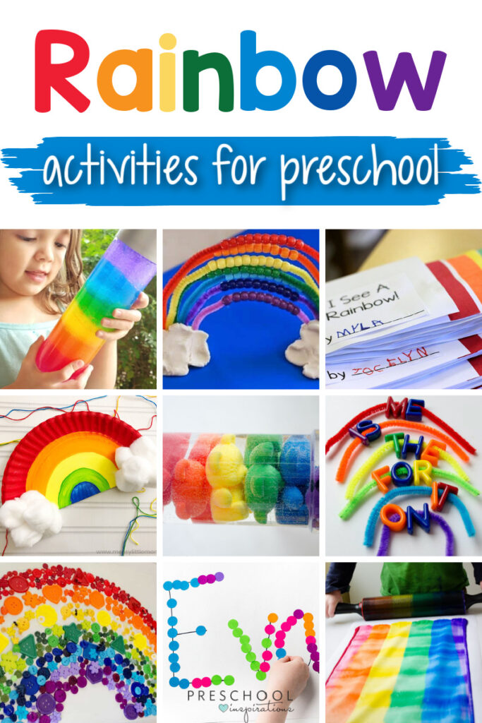 collage of nine different rainbow activities with the text 'rainbow activities for preschool'