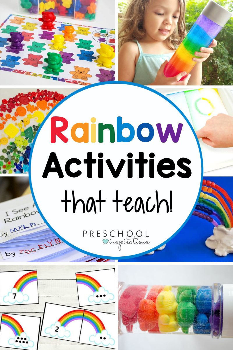 collage of eight different learning rainbow activities with the text 'rainbow activities that teach!'