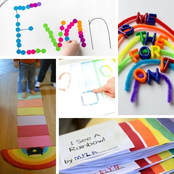 collage of five different preschool literacy activities with rainbows