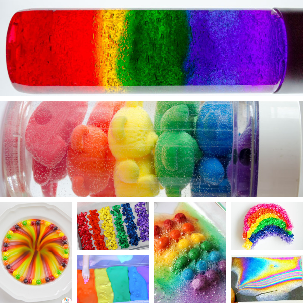 collage of two large rainbow sensory bottles and six other small rainbow science activities