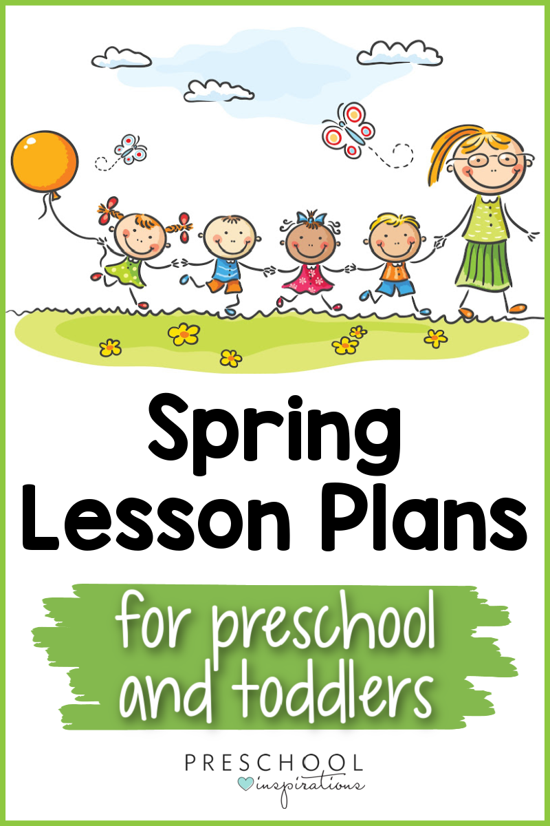 pinnable image of a preschool teacher leading four children across the grass with the text 'spring lesson plans for preschool and toddlers'