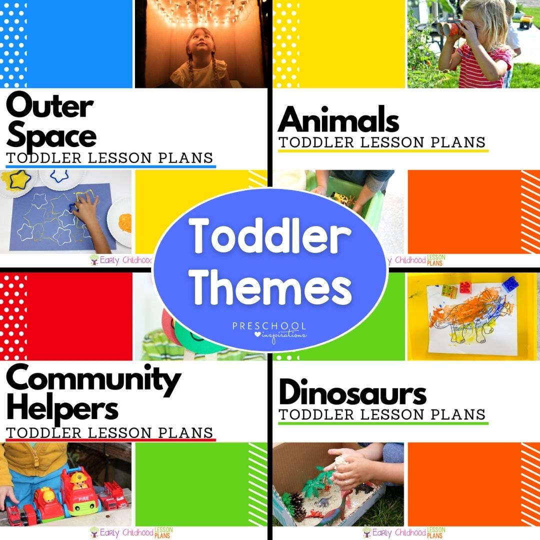 four toddler lesson plan cover images with the text overlay 'toddler themes'