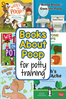 six different book cover images with the text 'books about poop for potty training'