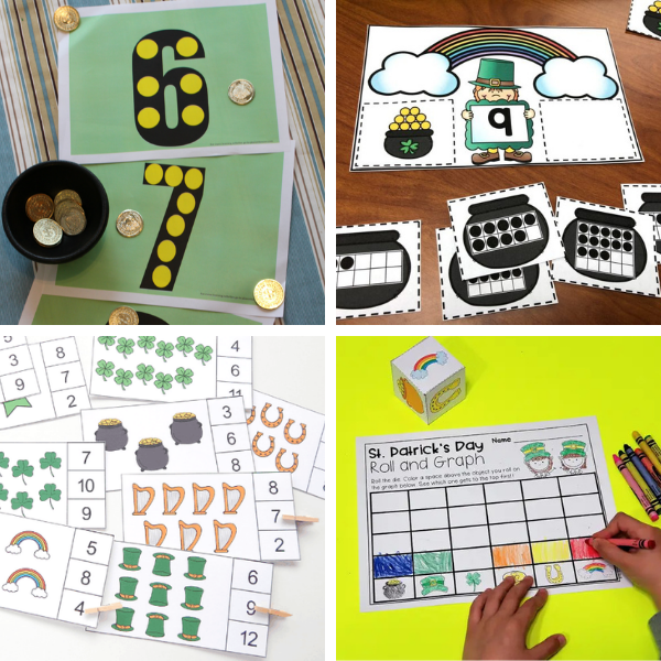 collage of four preschool math activities themed for st. patrick's day