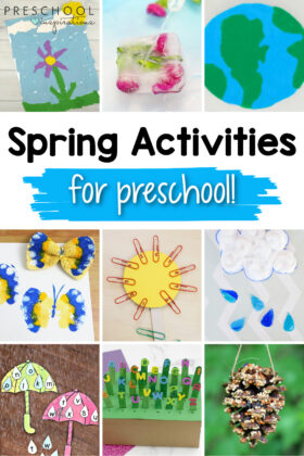 pinnable collage of nine different preschool activities with the text 'spring activities for preschool'
