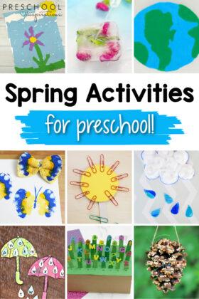 pinnable collage of nine different preschool activities with the text 'spring activities for preschool'