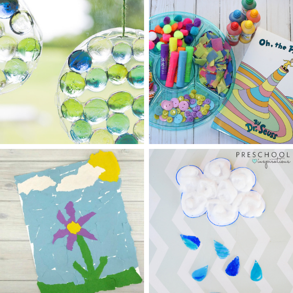 collage of four different spring crafts and art projects