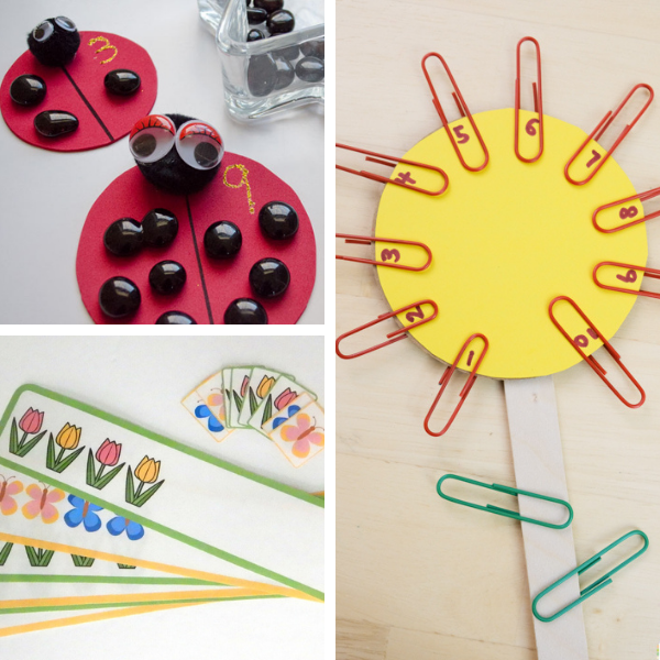 collage of three different math activities for spring