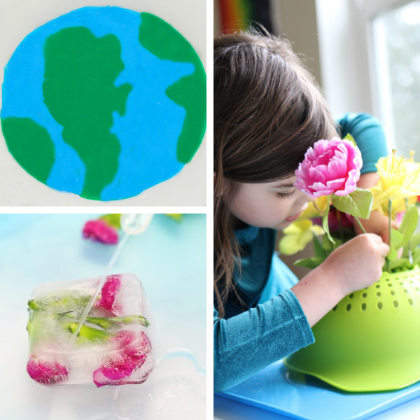 collage of three different spring science experiments and sensory exploration activities for preschool