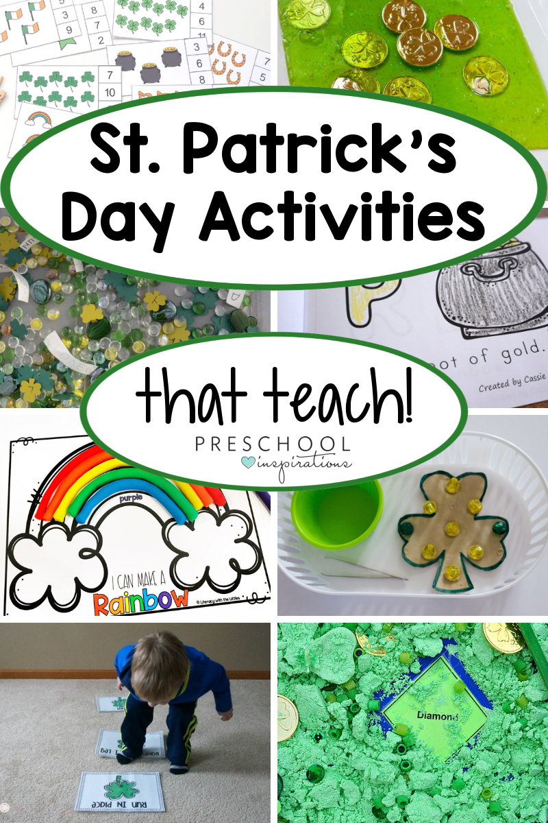 pinnable collage of eight st. patrick's day activities for preschool that teach a skill