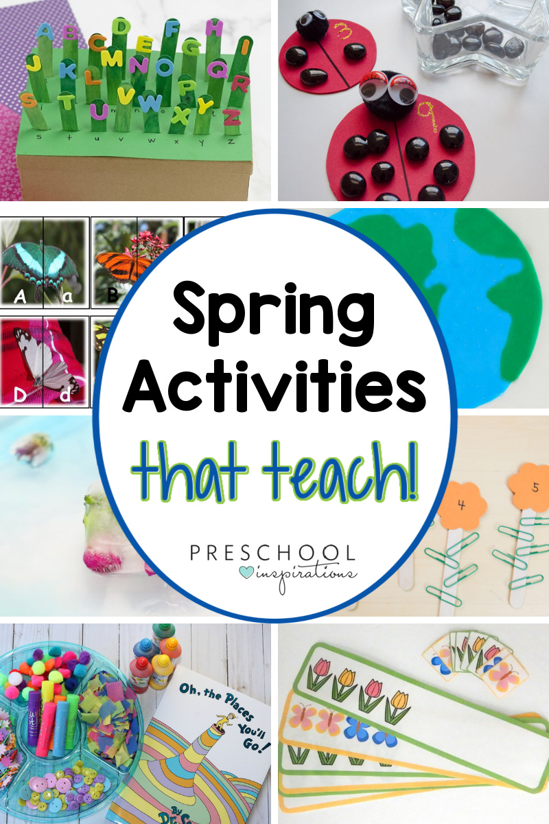 collage of eight different preschool activities with the text 'spring activities that teach!'