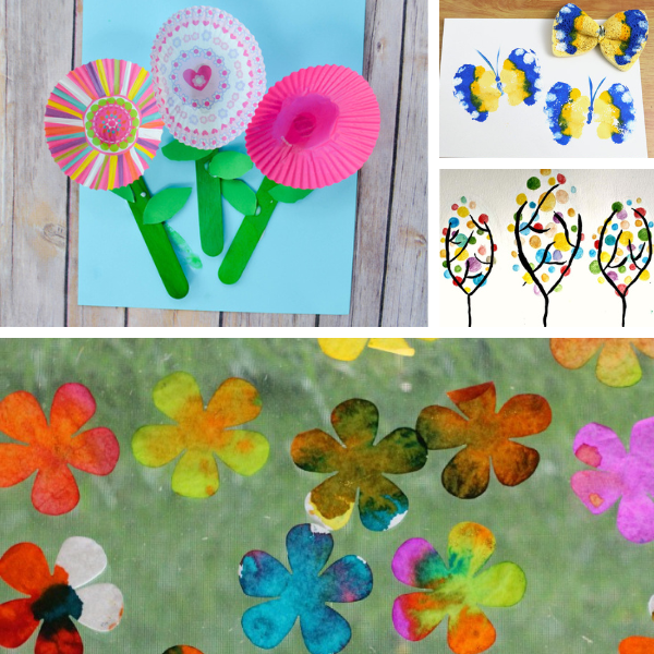 collage of four different preschool spring art projects