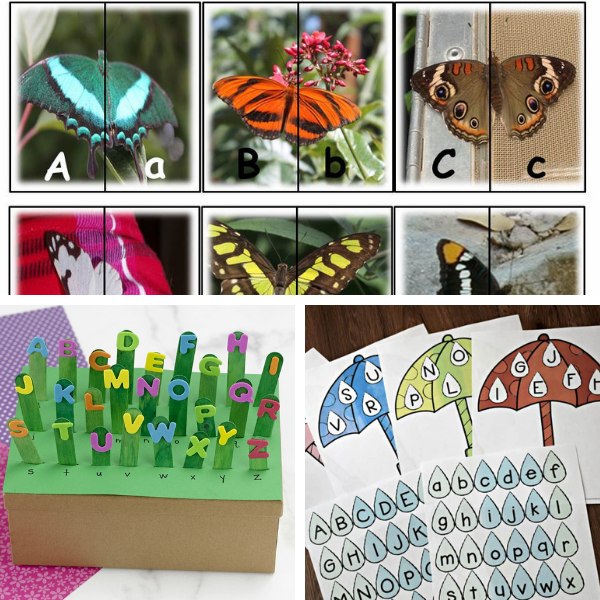 collage of three literacy activities for preschool in spring