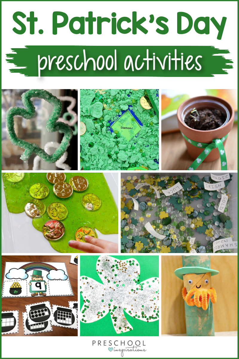 seven different preschool st. patrick's day activities with the text 'st. patrick's day preschool activities'
