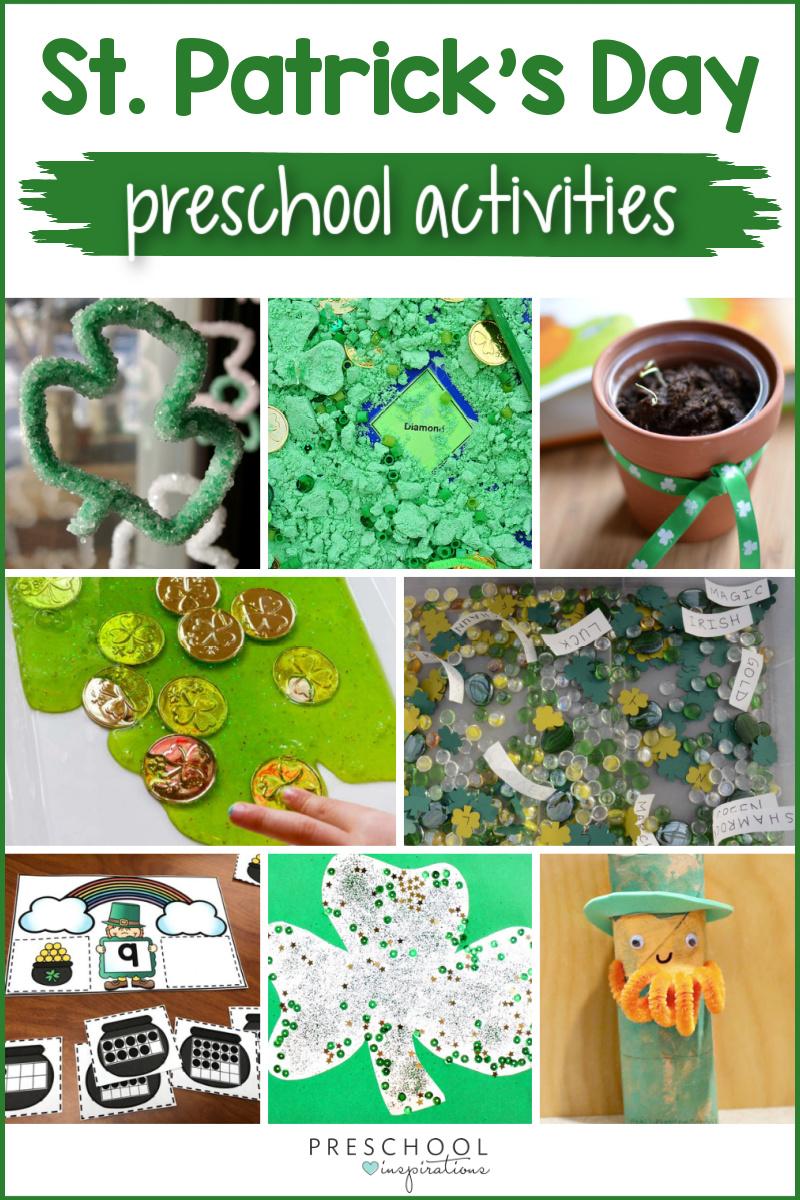 seven different preschool st. patrick's day activities with the text 'st. patrick's day preschool activities'