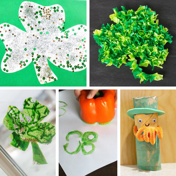 collage of st. patrick's day crafts and art activities for preschool