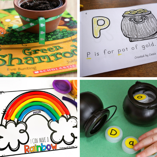 collage of four preschool reading and alphabet activities for st. patrick's day