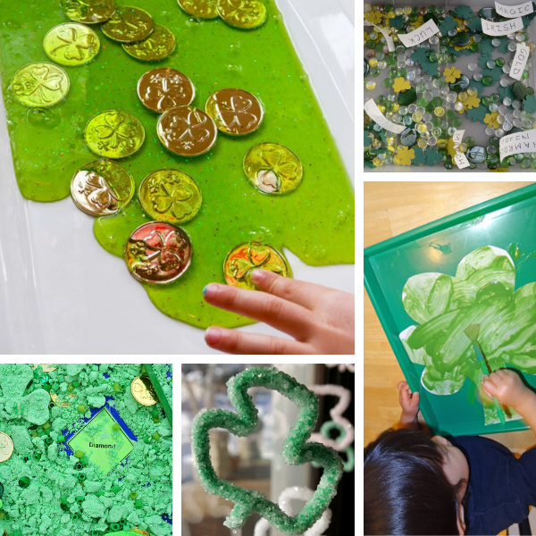 collage of st. patrick's day science activities and sensory exploration