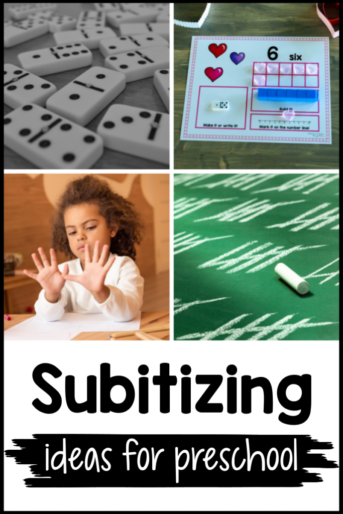 pinnable collage of four different subitizing activities and the text 'subitizing ideas for preschool'