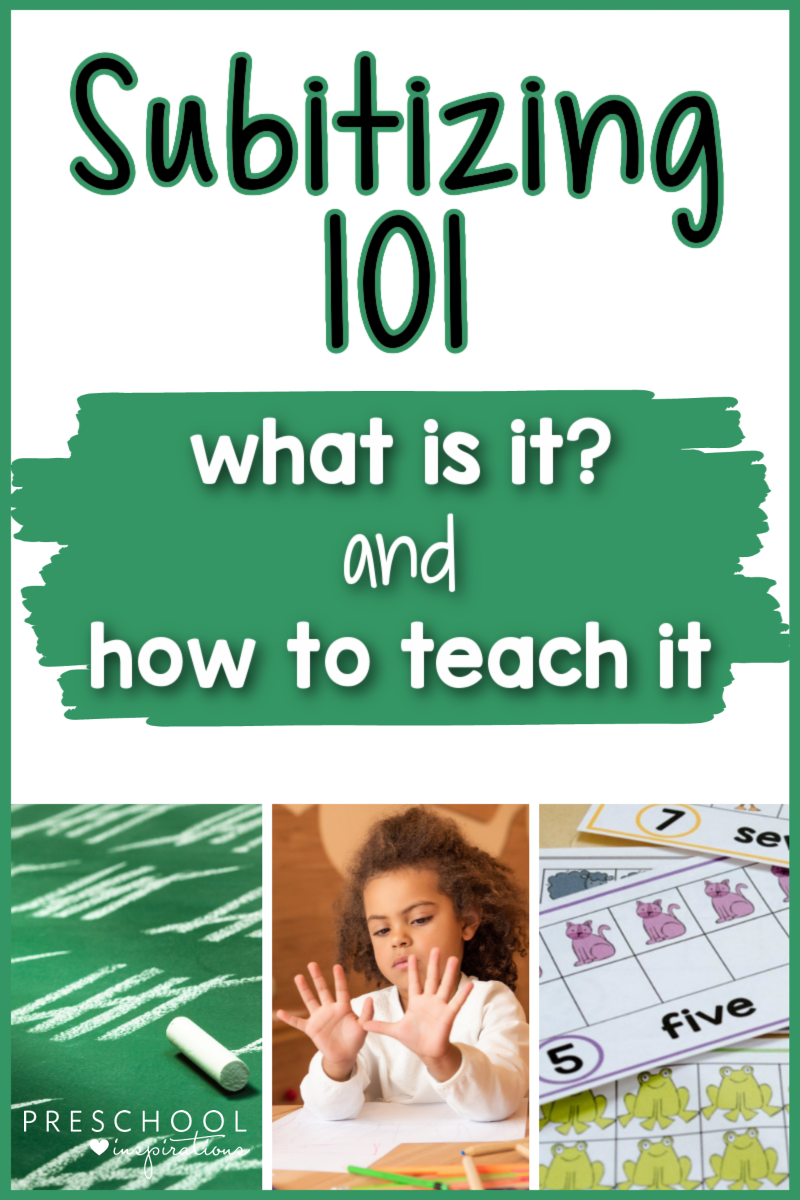 pinnable image of three subitizing activities and the text 'subitizing 101 what is it? and how to teach it'