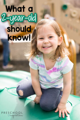 cute toddler girl on a playground with the text 'what a 2-year-old should know'