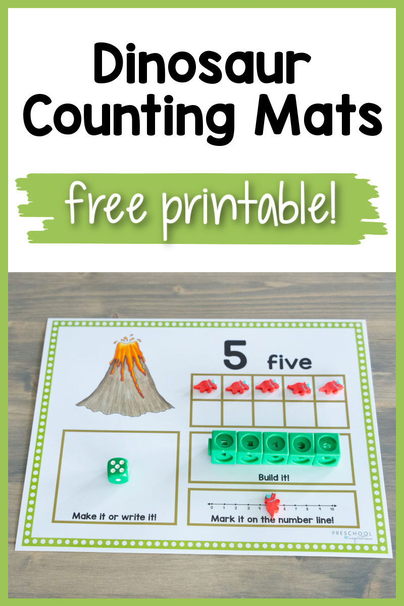 pinnable image showing a dinosaur ten frame and the text dinosaur counting mats free printable