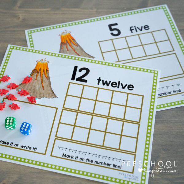 two dinosaur counting mats with empty ten frames