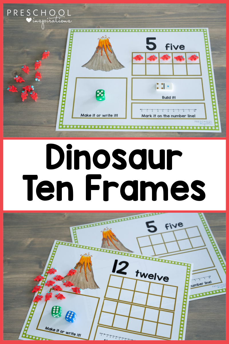 pinnable image of two different views of printable counting mats and the text dinosaur ten frames