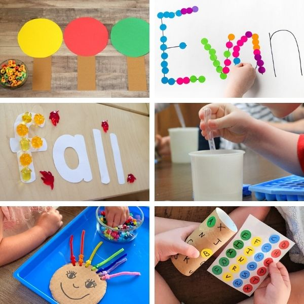 collage of six different fine motor activities for preschool that build a pincer grasp