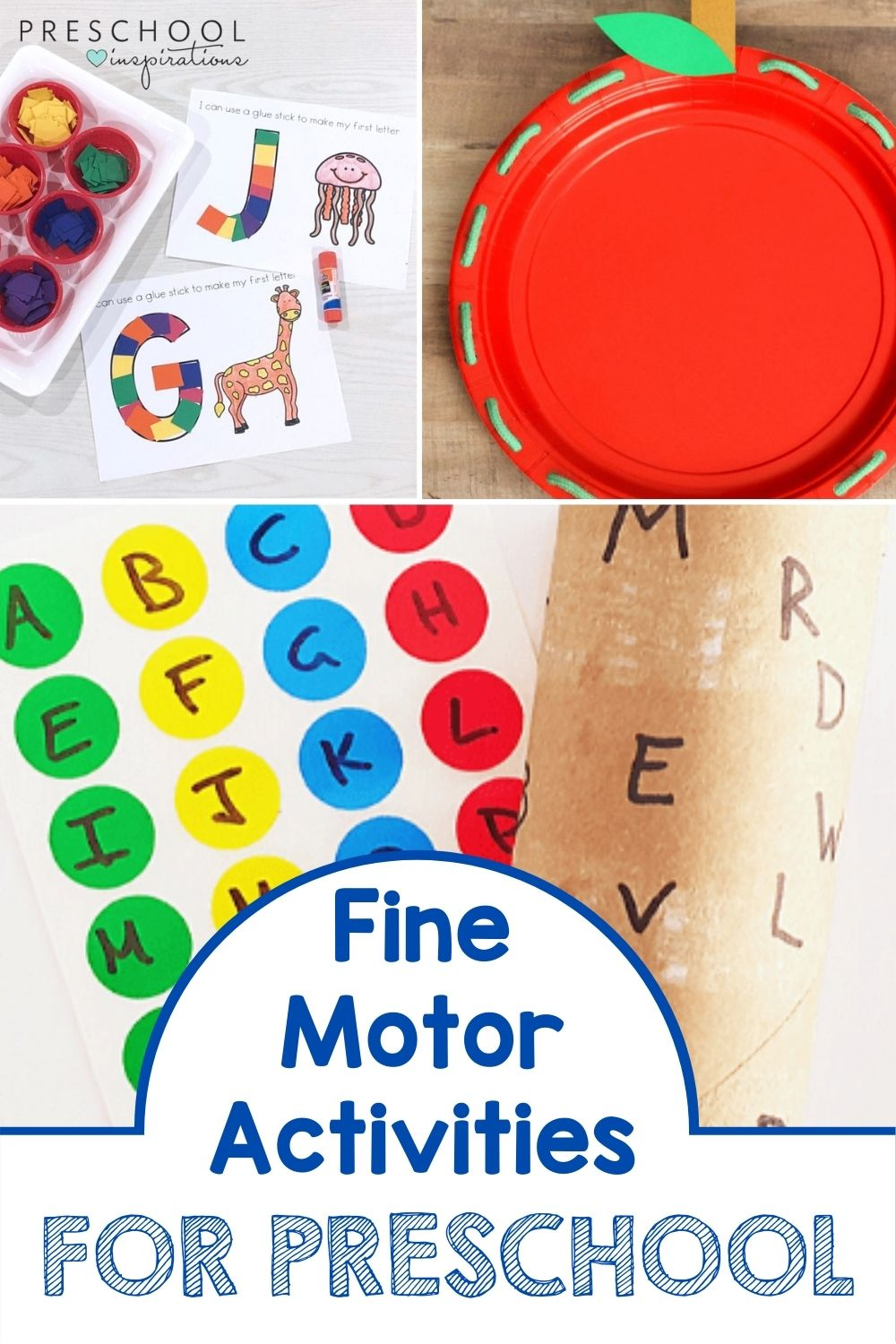 a collage of three different activities that build fine motor skills and the text fine motor activities for preschool