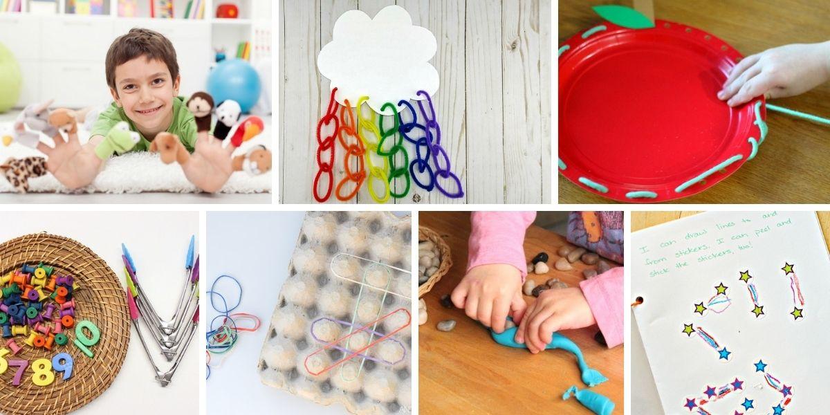 collage of seven different preschool activities to build fine motor skills
