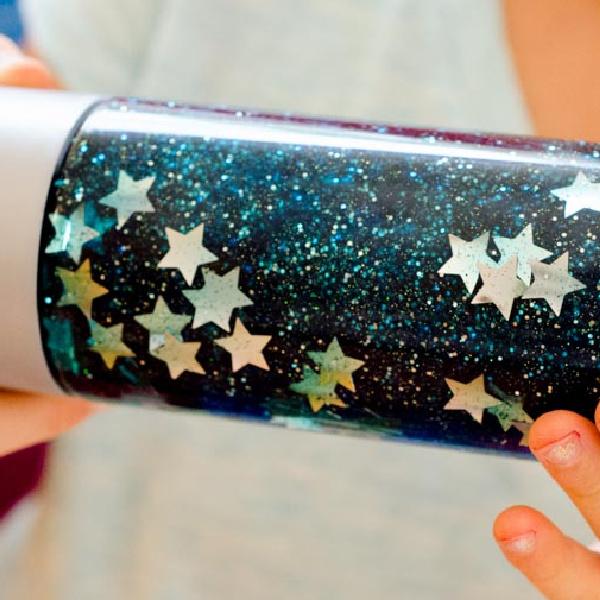 close up of a galaxy sensory bottle