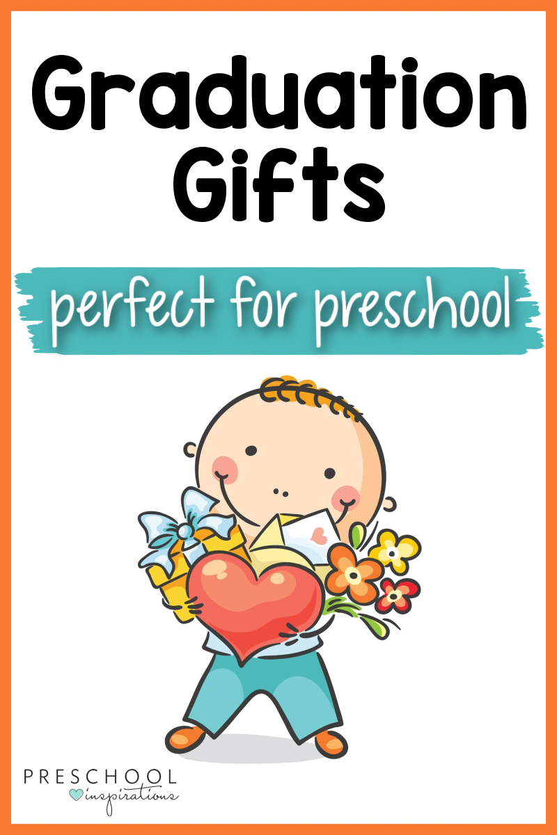 pinnable image of a cartoon preschooler holding an arm full of gifts and the text 'graduation gifts perfect for preschool