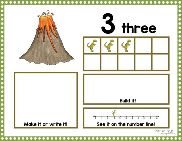 dinosaur ten frame showing the number three