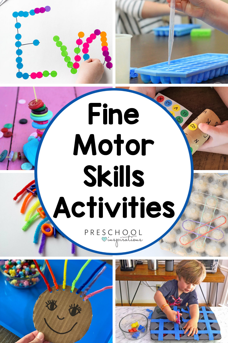 collage of eight different preschool activities with the text fine motor skills activities