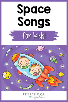 pinnable image of two cartoon kids blasting off in a rocket ship and the text 'space songs for kids'