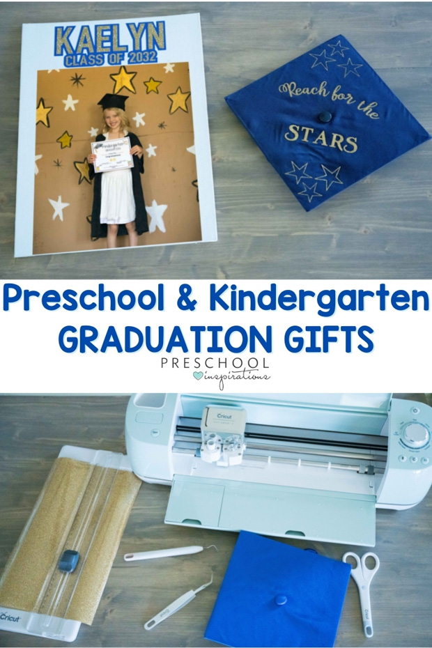 pinnable image of a cricut and a personalized graduation canvas with photo and graduation hat. text reads 'preschool and kindergarten graduation gifts'