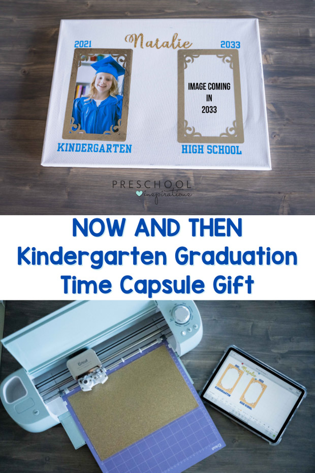 image of a kindergarten graduate next to a blank space waiting for her senior portrait and the text 'now and then kindergarten graduation time capsule gift'