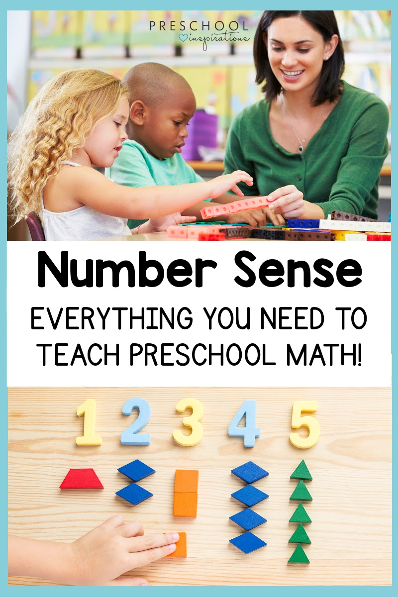 pinnable image of a preschooler counting cubes and shapes laid out under numbers and the text, 'number sense everything you need to teach preschool math'