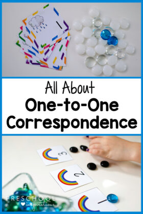 pinnable image of two sets of counting cards and the text all about one to one correspondence