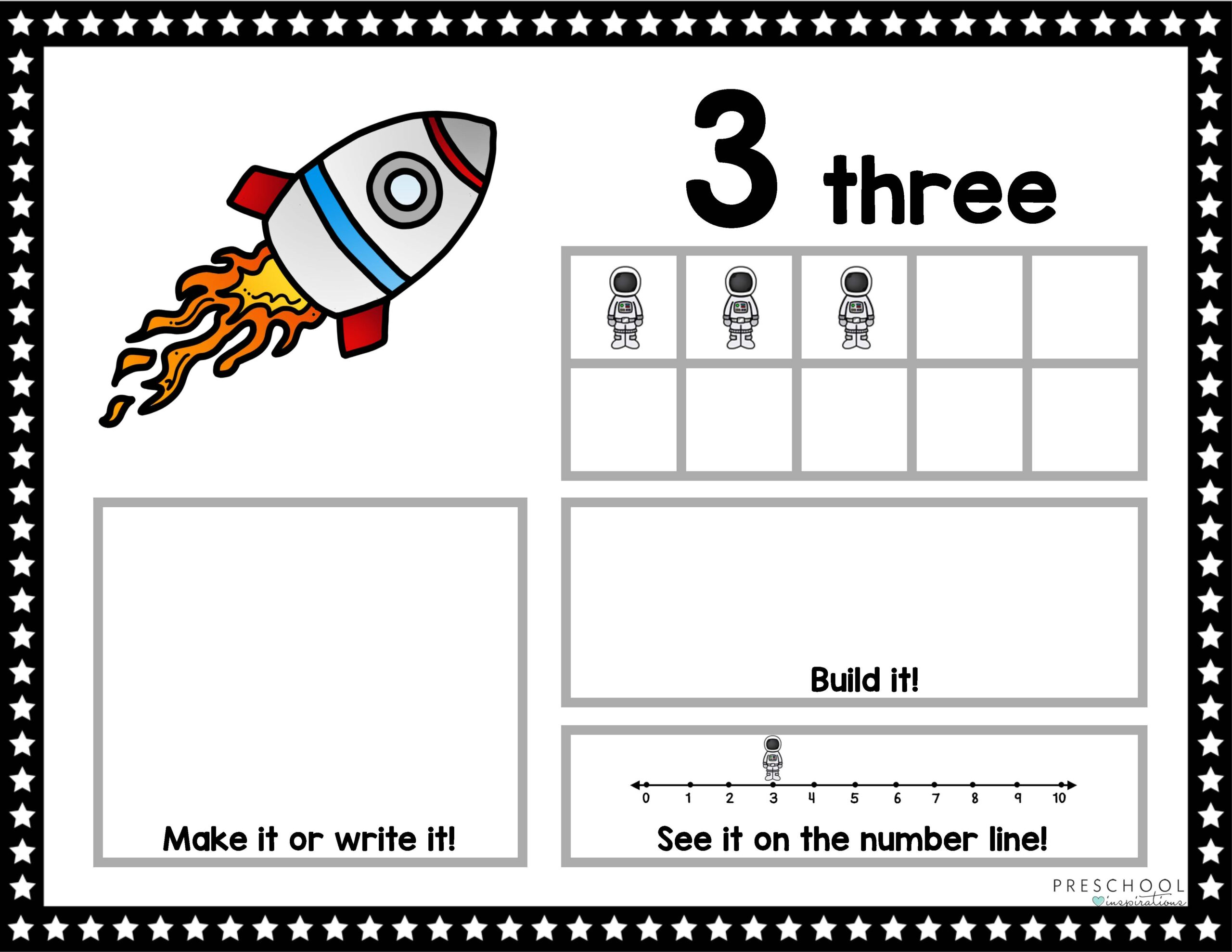 a space-themed ten frame mat showing the number three