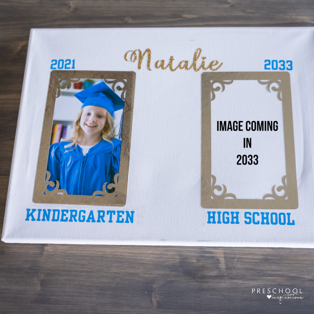 personalized graduation gift canvas with spaces for 'now' and 'then' images