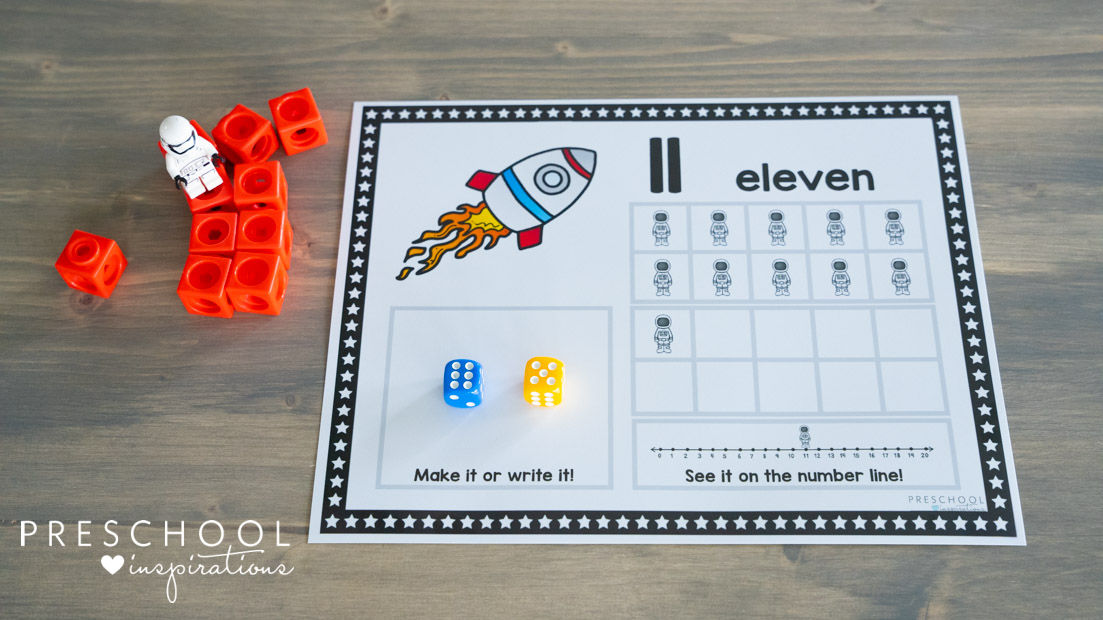 a space counting mat showing the number 11