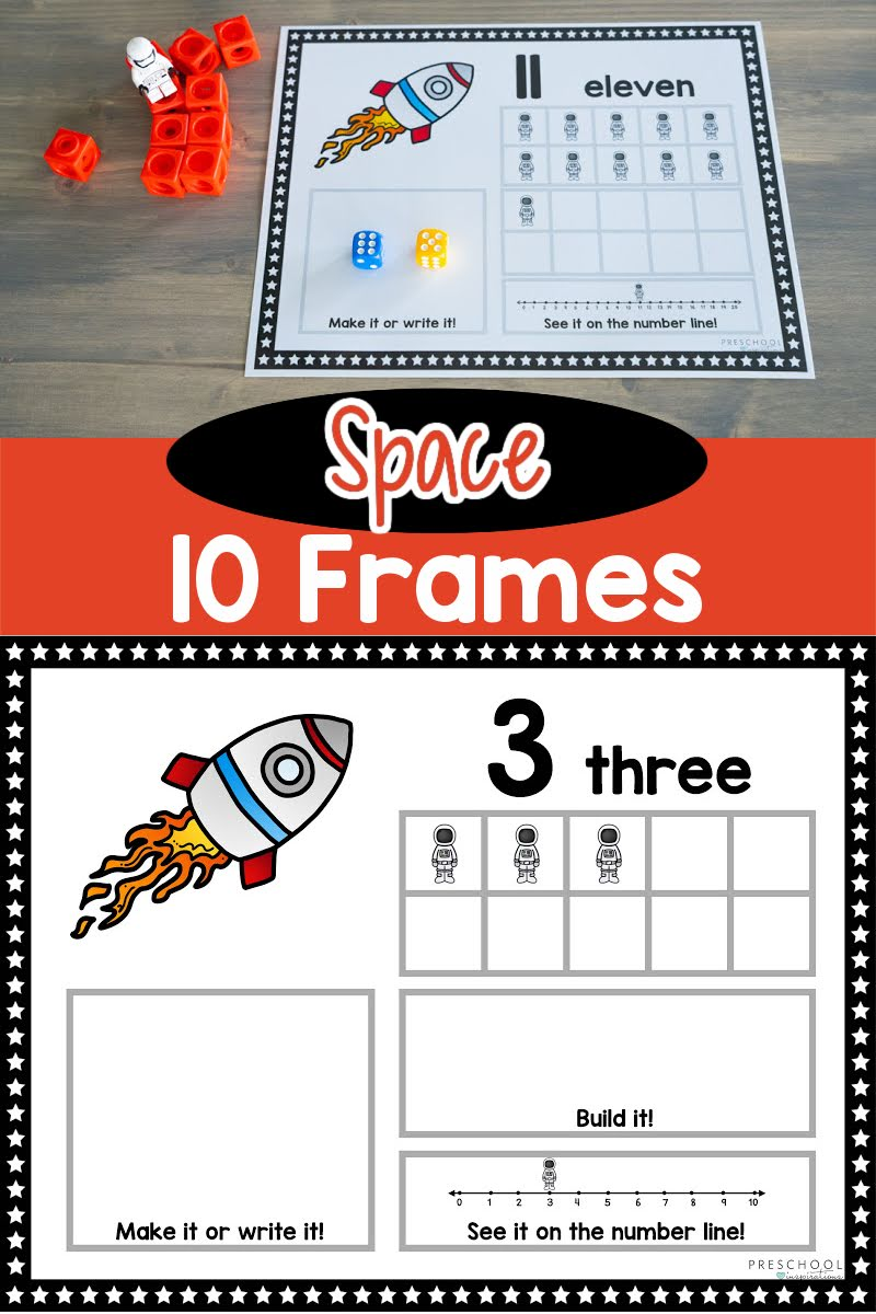 two images of space ten frame mats and the text space 10 frames