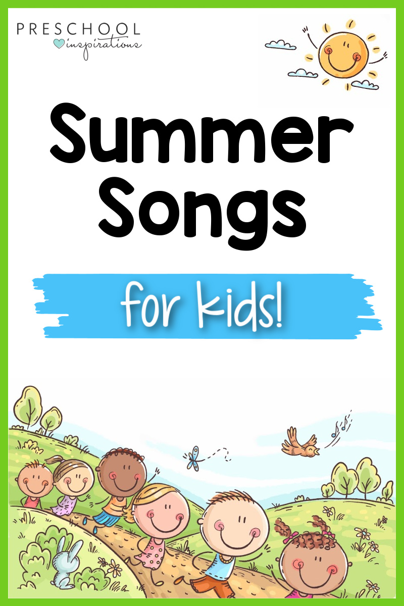 pinnable image of cartoon kids running over a hill and the text summer songs for kids