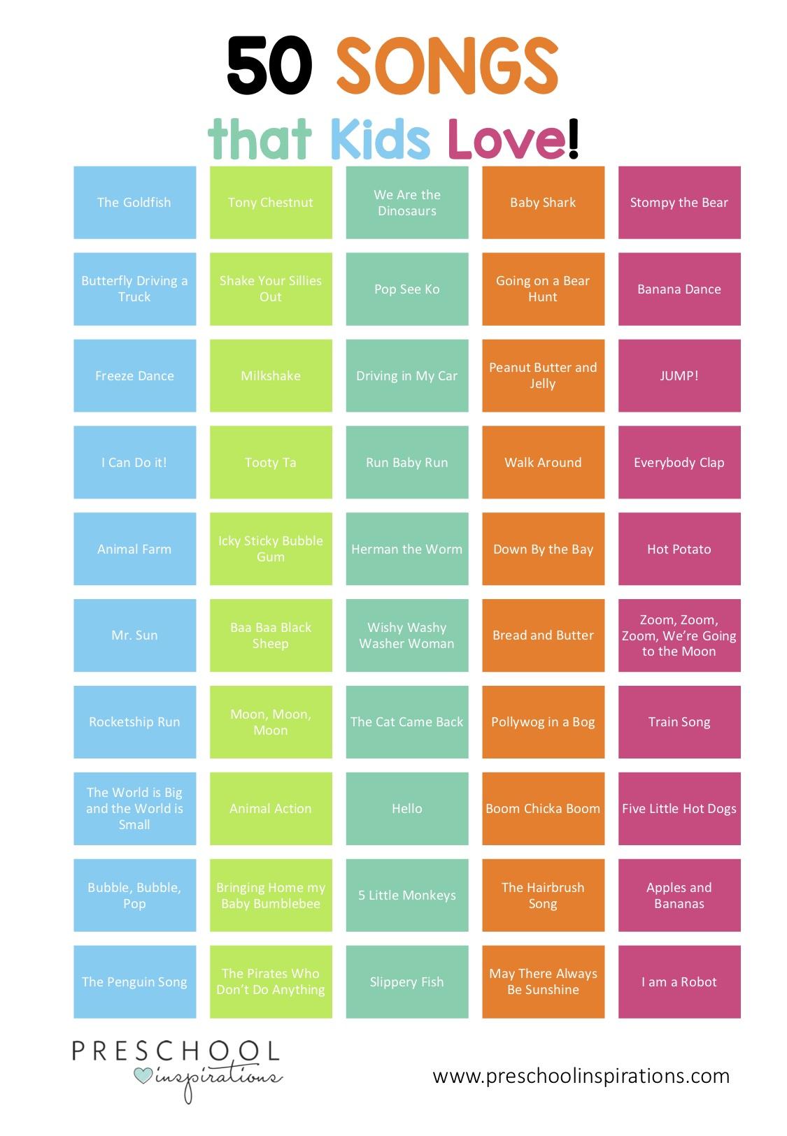 Titles of 50 popular kids' songs written on colorful blocks
