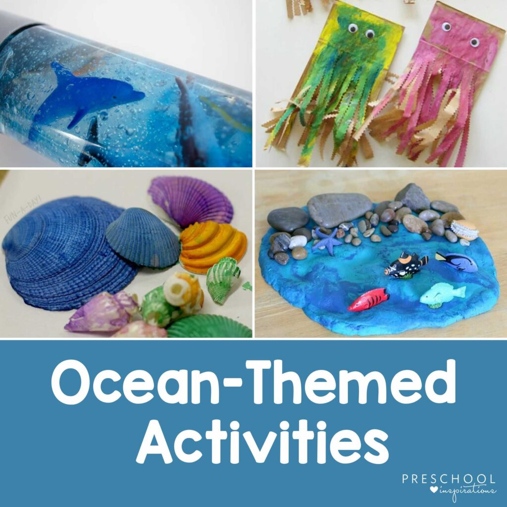 collage of four different ocean themed activities for kids