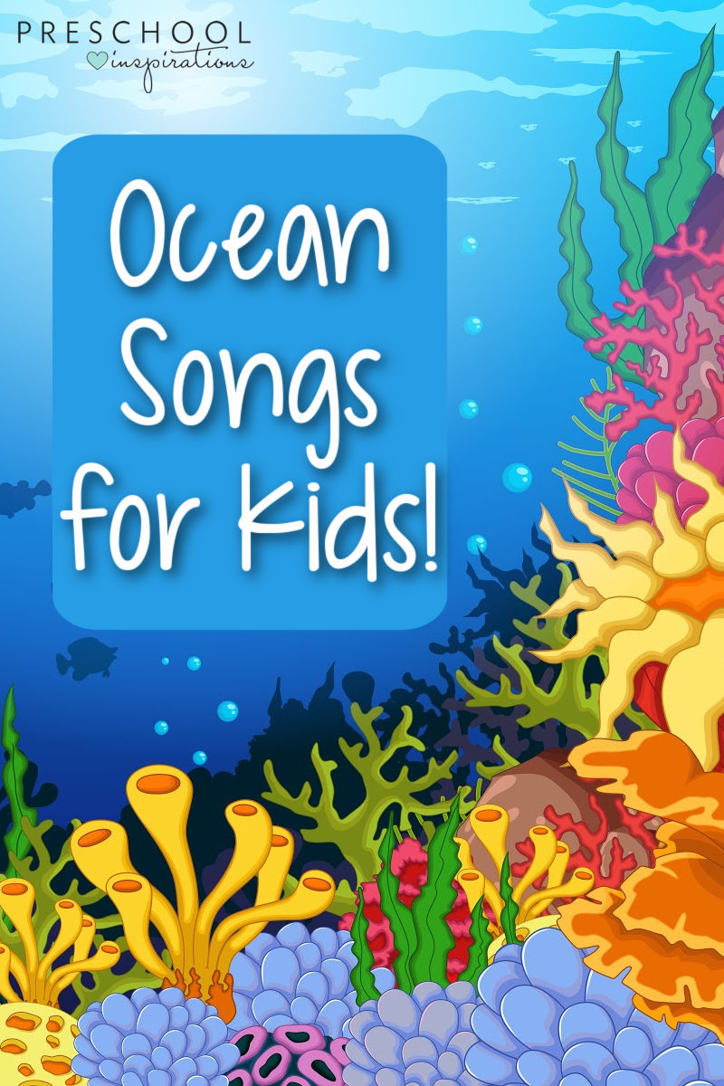a colorful coral reef vector image with the text ocean songs for kids