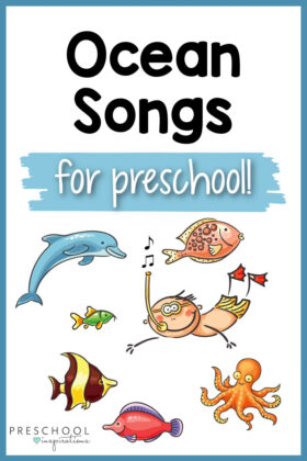 a cartoon boy swimming with ocean creatures and the text 'ocean songs for preschool'