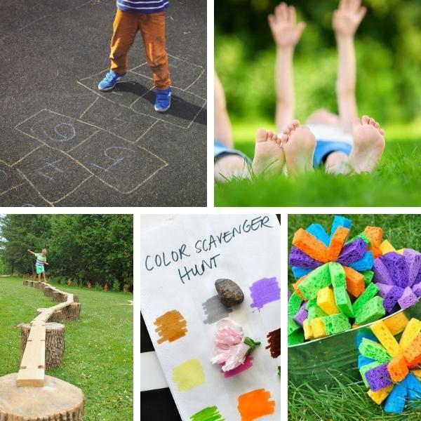 collage of five activities preschoolers can do outside